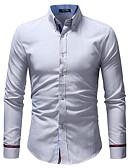 tanie Męskie koszule-Koszula Męskie Biznes / Podstawowy Bawełna Praca Szczupła - Solidne kolory / Prążki / Długi rękaw