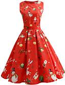 ieftine Print Dresses-Pentru femei Vintage / Elegant Bumbac Zvelt Pantaloni - Fulg zăpadă Imprimeu Roșu-aprins / Concediu / Ieșire
