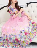 preiswerte Maxi-Kleider-Damen Elegant Aufflackern-Hülsen- Chiffon Kleid - Druck, Blumen Maxi Rose / Frühling / Sommer