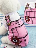 baratos Camisas Masculinas-Cachorros Camiseta Roupas para Cães Desenho Animado Azul / Rosa claro Algodão Ocasiões Especiais Para animais de estimação Unisexo Férias / Lazer