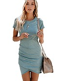 cheap Women's Dresses-Women's Basic Cotton Slim Bodycon Dress - Solid Colored Ruched Asymmetrical