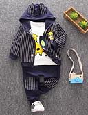 billige Sett med Gutter babyklær-Baby Gutt Grunnleggende Daglig Stripet Langermet Normal Normal Polyester Tøysett Navyblå