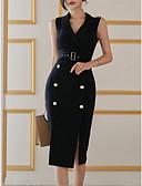 povoljno Maxi haljine-Žene Pamuk Slim Bodycon Haljina Kragna košulje Midi