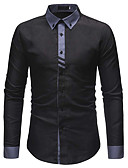 cheap Men's Shirts-Men's Daily Work Business / Basic Cotton Shirt - Solid Colored White L / Long Sleeve