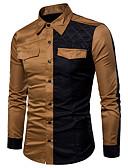 cheap Men's Hoodies & Sweatshirts-Men's Daily Basic Plus Size Cotton Slim Shirt - Color Block Brown / Long Sleeve