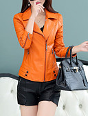 cheap Women's Leather & Faux Leather Jackets-Women's Daily Street chic Short Leather Jacket, Contemporary Notch Lapel Long Sleeve PU Black / Orange XXL / XXXL / 4XL