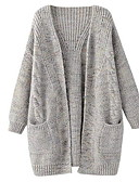 ieftine Tricou-Pentru femei Manșon Lung Lung Cardigan - Mată În V / Toamnă