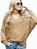 cheap Women's Sweaters-Women's Daily Solid Colored Long Sleeve Loose Regular Pullover, Stand Spring / Fall Camel / Wine M / L / XL