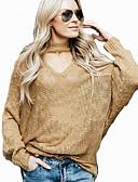 preiswerte Damen Pullover-Damen Alltag Solide Langarm Lose Standard Pullover, Ständer Frühling / Herbst Kamel / Wein M / L / XL