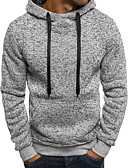 cheap Men's Hoodies & Sweatshirts-Men's Sports Basic Long Sleeve Hoodie - Solid Colored Hooded Dark Gray L