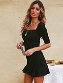 hesapli NYE Elbiseleri-Kadın's Parti Sokak Şıklığı İnce Little Black Elbise - Solid, Fırfırlı Kare Yaka Mini