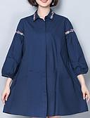 abordables Camisas para Mujer-Mujer Tallas Grandes Algodón Camisa, Cuello Camisero Un Color