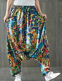 ieftine Pantaloni de Damă-Pentru femei Bumbac Larg Picior Larg Pantaloni - Floral Talie Înaltă Albastru piscină