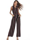 povoljno Ženske hlače-Žene Dnevno Kragna košulje Crn Jumpsuits, Prugasti uzorak M L XL Pamuk Bez rukávů