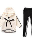 billige Tøjsæt til piger-Børn Pige Aktiv / Gade Daglig / Sport Stribet / Patchwork Patchwork Langærmet Normal Rayon Tøjsæt Beige