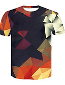 cheap Men's Pants & Shorts-Men's T-shirt - Geometric / 3D Print Round Neck / Short Sleeve