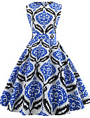 baratos Vestidos Vintage-Mulheres Vintage / Elegante Algodão Delgado Calças - Geométrica Azul / Para Noite