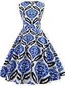 povoljno Vintage kraljica-Žene Vintage / Elegantno Pamuk Slim Hlače - Geometrijski oblici Plava / Izlasci