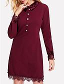 abordables Vestidos de Talla Grande-Mujer Pantalones - Un Color Ajuste de encaje Wine / Cuello Camisero