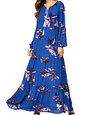 cheap Maxi Dresses-Women's Daily Maxi Loose Swing Dress Cotton Royal Blue XXL XXXL XXXXL