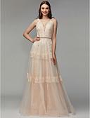 זול שמלות ערב-גזרת A צווארון V עד הריצפה תחרה / טול ערב רישמי שמלה עם חרוזים / אפליקציות על ידי TS Couture®