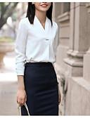 hesapli Gömlek-Kadın's V Yaka İnce - Gömlek Kırk Yama, Solid Temel Çalışma Büyük Bedenler Beyaz