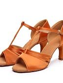 ieftine Rochii de Damă-Pentru femei Pantofi Dans Latin Satin Călcâi Toc Cubanez Personalizabili Pantofi de dans Auriu / Negru / Maro