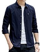baratos Jaquetas & Casacos para Homens-Homens Camisa Social Básico Sólido