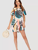 cheap Women's Dresses-Women's Holiday T Shirt Dress - Floral Tropical Leaf, Print