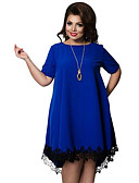 olcso Örömanya ruhák-Női Extra méret Bő A-vonalú Ruha - Csipke Trim, Egyszínű Térdig érő