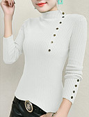 cheap Women's Sweaters-women's long sleeve slim pullover - solid colored turtleneck