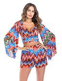ieftine Bluze de Damă-Pentru femei Sleeve Flare Boho / Șic Stradă Set - Geometric / Bloc Culoare / Curcubeu, Pantaloni Imprimeu