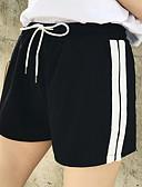 baratos Calças Femininas-Mulheres Shorts Calças - Listrado Cintura Alta Preto