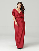 cheap Plus Size Dresses-Women's Basic Slim Tunic Dress - Solid Colored Maxi V Neck