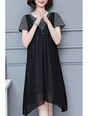 baratos Vestidos Plus Size-Mulheres Casual Tamanhos Grandes Calças - Listrado Preto
