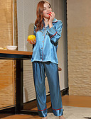 זול בגדי שינה והלבשה תחתונה לנשים-בגדי ריקוד נשים דש קלאסי חליפות פיג'מות גיאומטרי