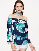 baratos Blusas Femininas-Mulheres Blusa - Feriado Estampado, Floral Ombro a Ombro / Choker Folha tropical / Verão