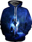 رخيصةأون كنزات هودي رجالي-رجالي بانغك & قوطي / مبالغ فيه قياس كبير بنطلون - 3D طباعة أزرق / رقبة دائرية / كم طويل / الخريف