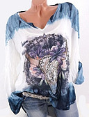abordables Blazers y Chaquetas de Mujer-Mujer Tallas Grandes Camisa, Escote en Pico Corte Ancho Geométrico / Otoño
