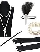 billige Cocktailkjoler-Den store Gatsby 1920-tallet Kostume Dame Flapperpannebånd i 1920-stil Hodeplagg Vintage Armbånd Perlehalskjede Svart / Gylden+Svart / Svart / Hvit Vintage Cosplay Imitert Perle Fjær