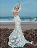 cheap Wedding Dresses-A-Line Scoop Neck Sweep / Brush Train Lace / Tulle Made-To-Measure Wedding Dresses with Beading / Lace by LAN TING BRIDE®