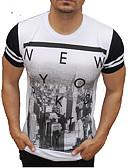 זול חולצות פולו לגברים-קולור בלוק / אותיות צווארון עגול רזה פעיל / סגנון רחוב כותנה, טישרט - בגדי ריקוד גברים לבן / שרוולים קצרים