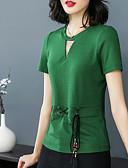 baratos Blusas Femininas-Mulheres Camiseta Vintage / Básico Sólido
