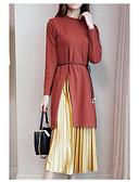 ieftine Rochii de Damă-Pentru femei Mărime Plus Size Bumbac Tricotaje Rochie - Plisată, Bloc Culoare Lungime Genunchi / Toamnă