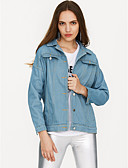 cheap Women's Coats & Trench Coats-Women's Going out Denim Jacket - Solid Colored Shirt Collar / Spring