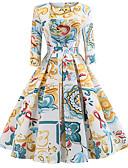 abordables Vestidos de Mujer-Mujer Noche Vintage Elegante Algodón Delgado Corte Swing Vestido - Estampado, Floral Hasta la Rodilla
