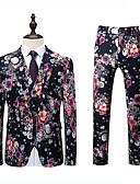 cheap Men's Blazers & Suits-Men's Plus Size Suits-Floral Peaked Lapel / Long Sleeve