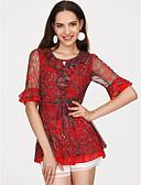 abordables Blusas para Mujer-blusa de mujer - cuello redondo floral