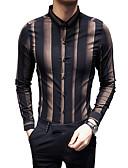 cheap Men's Shirts-Men's Slim Shirt - Striped / Color Block Classic Collar / Long Sleeve