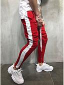 povoljno Muške duge i kratke hlače-Muškarci Osnovni / Ulični šik Veći konfekcijski brojevi Pamuk Chinos / Sportske hlače Hlače - Jednobojni Blue & White / Crno-crvena / Crno-bijela, Kolaž Red